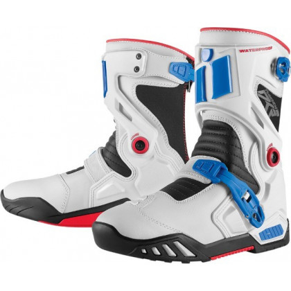 Icon Raiden Dkr ajosaappaat Blue/red/white
