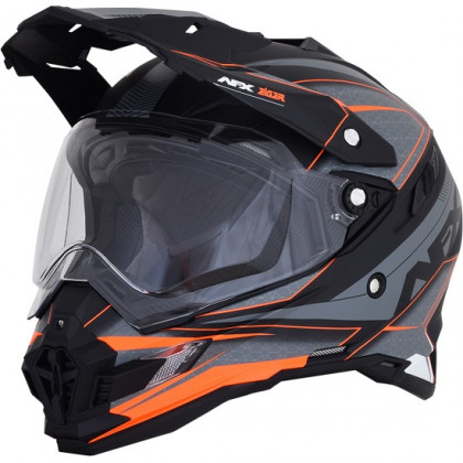 AFX FX-41DS Multi Helmet Frost grey/neon orange