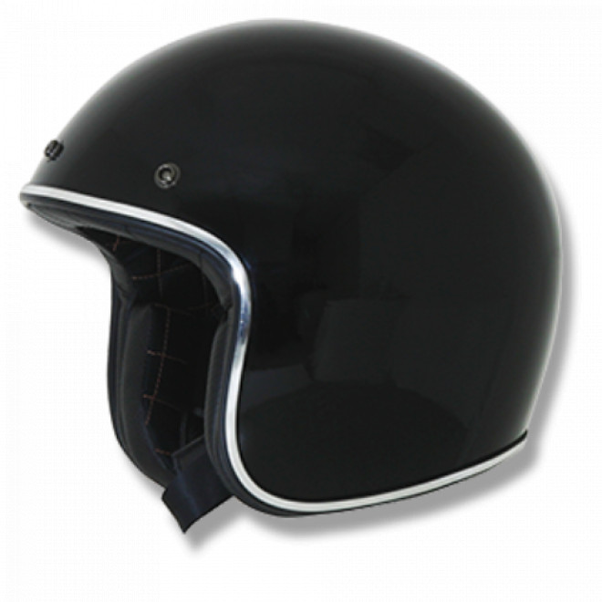 AFX FX-76 Vintage Helmet Gloss black with Chrome Trim