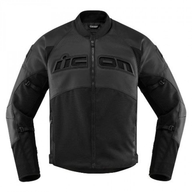 Icon Contra2 Leather Perforated jacket Black